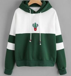 Discount This Month ROMWE Drawstring Color Block Cactus Embroidered Hoodie 2018 Spring Autumn Long Sleeve Ladies Casual Sporty Pullovers Sweatshirt Hoodie Sweatshirts, Printed Sweatshirts, Hoody, Sweat Shirt, Tracksuit Tops, Vetement Fashion, Mode Streetwear, Pulls, Romwe