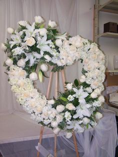 Flower Wreath Funeral, Funeral Flowers, Funeral Floral Arrangements, Flower Arrangements, Wreaths For Funerals, Angel Wings Decor, Casket Flowers, Funeral Sprays, Casket Sprays