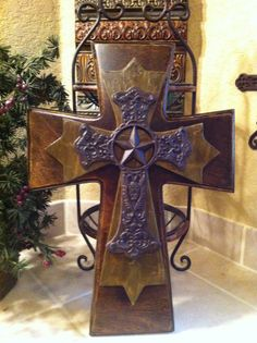 Large rustic wood cross