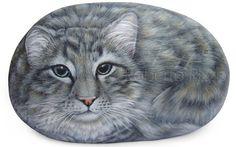 Portrait personnalisé chat peint sur une pierre naturelle mer