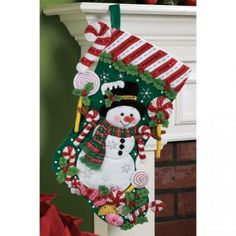 Candy Snowman Christmas Stocking by sunshinemoonbeams for $75.00