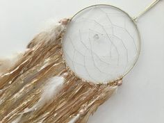 "Ready Made - 7"" Gold Dreamcatcher - large dreamcatcher, gold dream catcher, gold…"