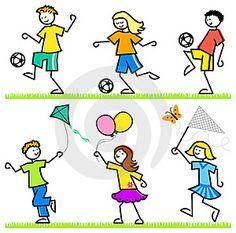 Dibujos animados de niños jugando al fútbol, volar una cometa, y con una red de…
