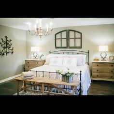 Remember this room from last night's episode? when the clients bought the house it still felt like a garage add on and it was neon yellow- now it's their master suite #fixerupper @hgtv