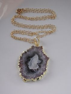 Raw Amethyst Necklace Large Amethyst Stalactite by MalieCreations