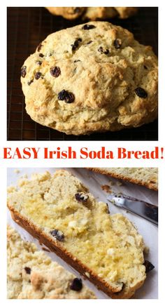 This easy Irish Soda Bread recipe is soft and tender with a crunchy crust! It's filled with raisins, and so good with little butter! Source by pkozlowski soda bread Recipe For Soda Bread, Quick Bread Recipes, Easy Bread, Banana Bread Recipes, Pumpkin Banana Bread, Chocolate Chip Banana Bread, Irish Desserts, Irish Recipes, Irish Meals