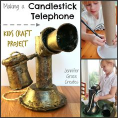 School Homework Kids Craft - Making A Candlestick Telephone at Jennifer Grace Creates History Projects, School Projects, Diy For Kids, Crafts For Kids, Jennifer Grace, Alexander Graham Bell, Victorian Crafts, Educational Crafts, Hands On Activities