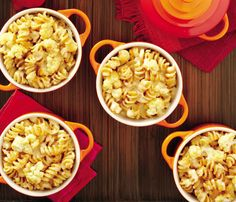 Lightened-Up Comfort Food: Mac & Cheese. The standard bearer of all comfort foods, this creamy treat can pack 530 cals and 15 grams of saturated fat. (Thanks butter and cheese!) Instead, try this Four-Cheese Pasta With Cauliflower that packs all the taste but less than half the calories. #SelfMagazine