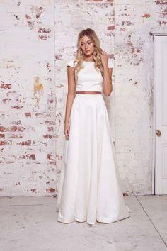 Boho crop top and silk skirt from Karen Willis Holmes: http://www.stylemepretty.com/2015/02/02/karen-willis-holmes-wild-hearts-collection/