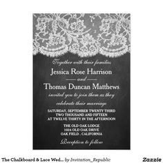 The Chalkboard & Lace Wedding Collection Card. Elegant Chalkboard Bridal Shower Invitation Templates. Classy bridal shower invitations that you can order online. Customized for the new bride to be. Elegant bridal shower invitation that feature a nice chalkboard background, great design and typography. Click image to customize. Feel free to like or repin.