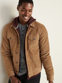 Built-In Tough Corduroy Trucker Jacket For Men