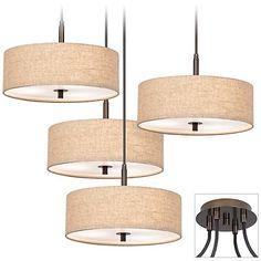 Possini Euro Cream Drum Tiger Bronze 4-Light Pendant