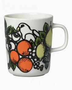 Pala Taivasta -muki 2,5dl Marimekko, Nordic Design, Scandinavian Design, Yellow Sign, Tropical Pattern, Tropical Birds, Exotic Flowers, Green And Orange, Biodegradable Products