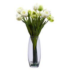Artificial Flowers Tulip With Vase Flower Arrangement Silk Flowers Silk Floral Arrangements, Artificial Flower Arrangements, Artificial Silk Flowers, Glass Cylinder Vases, Glass Vase, Silk Plants, White Tulips, Faux Flowers, Flower Vases