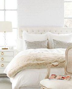 au lit fine linens ivory fur throw with tufted headboard