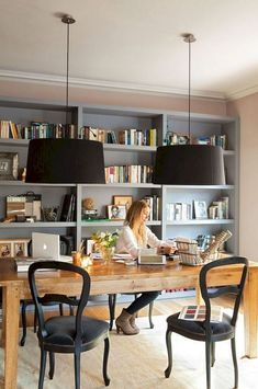 Stunning Library Room Design Ideas With Eclectic Decor Stunn. Stunning Library Room Design Ideas With Eclectic Decor Stunning Library Room De Cozy Home Office, Home Office Space, Home Office Design, Home Office Decor, Home Decor, Office Room Ideas, Office Designs, Dining Room Office, Table Desk Office