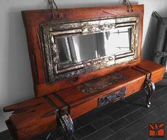 """Nativo Redwood. Arrimo bajo modelo """"Blockwood"""" de madero de una sola pieza de roble rústico con base y flejes de fierro forjado y cajon central de fierro forjado. Dimensiones: 0.30x1.80x0.40 www.facebook.com/nativoredwoodsa"""