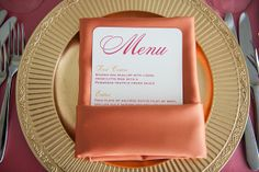 pink and orange wedding menu. Photography by www.photographybymichael.com