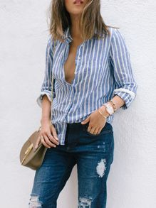 Blue White Lapel Vertical Stripe Pocket Blouse