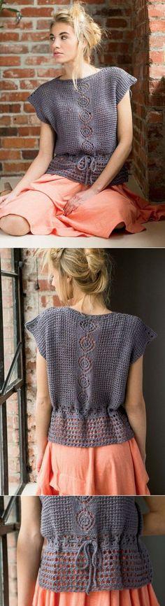 knitting pattern in Russian. Crochet Woman, Love Crochet, Knit Crochet, Crochet Tops, Crochet Shirt, Crochet Cardigan, Russian Crochet, Crochet Fashion, Crochet Designs