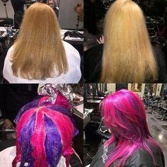 Gallery of hair dye techniques. Vivid Hair Color, Cool Hair Color, Hair Colors, Color Block Hair, Creative Hair Color, Underlights Hair, Headband Hairstyles, 70s Hairstyles, Saree Hairstyles