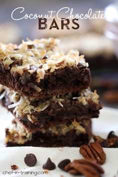 Chocolate Coconut Bars.  Coconut, sweetened condensed milk and chocolate, this recipe is DELICIOUS!