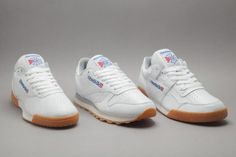 Reebok White/Gum collection is three classic silhouettes taking on a time-honoured colourway. The collection features some of Reebok's most popular styles: the Classic Leather, Workout Plus and the Ex-O-Fit. Each sneaker has a crispy white perforated … Best Sneakers, White Sneakers, Shoes Sneakers, Reebok Workout Plus, Baskets, Classic Leather, Classic White, Men S Shoes, Training Shoes