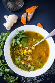 Turmeric Broth Detox Soup {Ayurvedic + Healing} - Detox Recipes - Gluten-free Dairy-free - Turmeric Broth Detox Soup- A fragrant, healing broth with rice noodles, kale, chickpeas and cilantr - Turmeric Soup, Turmeric Recipes, Turmeric Detox, Turmeric Curcumin, Soup Recipes, Cooking Recipes, Healthy Recipes, Cleanse Recipes, Delicious Recipes