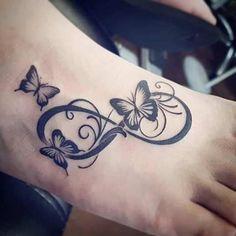 Tattoo butterfly - Tattoo Schmetterling - Tattoo World Infinity Butterfly Tattoo, Butterfly Foot Tattoo, Infinity Tattoo Designs, Butterfly Tattoos For Women, Foot Tattoos For Women, Infinity Tattoos, Butterfly Tattoo Designs, Tattoo Designs For Women, Wrist Tattoos Girls
