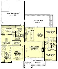Southern Style House Plan 51984 with 3 Bed, 3 Bath, 2 Car Garage Country Farmhouse Southern House Plan 51984 Level One Country House Plans, Dream House Plans, House Floor Plans, Dream Houses, House Design Plans, 2200 Sq Ft House Plans, One Level House Plans, Simple Floor Plans, Log Houses