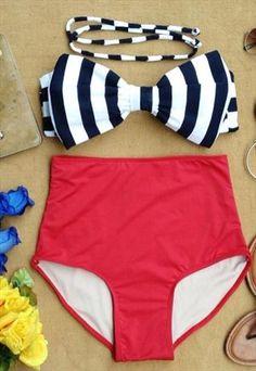 Katy Bow Retro High Waisted Bikini