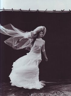 "1999 - Yohji Yamamoto dress ""A windy summer day"" photographed by Peter Lindbergh for Vogue Italia May 1999."