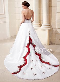 A-Line/Princess Sweetheart Chapel Train Satin Wedding Dresses With Embroidery Sashes (002011569)