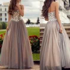 Grey Rhinestones A-Line Sweetheart Neckline Floor Length Prom Dress Party Dress