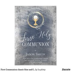 First Communion classic blue and faux silver Invitation