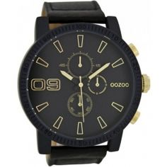 77e0d08867 OOZOO Large Τimepieces Black Leather Strap Μπάντα