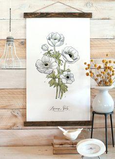 Anemone Illustration Print.   #flower #readytohang #spring #hostess #housewarming #gift #wedding #wall #art