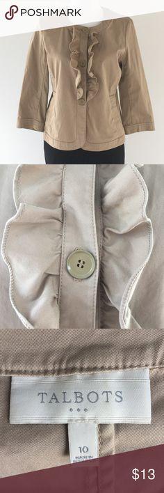 💥SUPER SAT. SPECIAL‼️Talbots Tan Blouse w/Ruffles Talbots Size 10. Talbots Tops Blouses