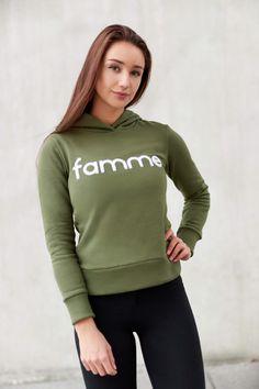 Khaki Majuscule hoodie from Famme Hoodies, Sweatshirts, Casual Wear, Custom Made, How To Make, How To Wear, Graphic Sweatshirt, Fabric, Sweaters