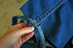 How to hem jeans using the original hem..the best way!! * turn girls old winter jeans into cute bermudas