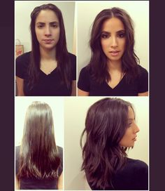 Before After Textured long-bob (Lob) with piecey layers. Styled into