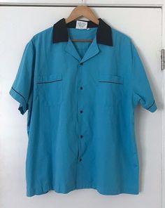 d9bf52b7b Cruisin USA Bowling Shirt XL Retro Blue Black Embroidering Kingpins  #CruisinUSA #ButtonFront