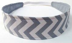 Reversible  Fabric  Headband   -  GREY CHEVRON  -  Headbands for Women on Etsy, $6.00