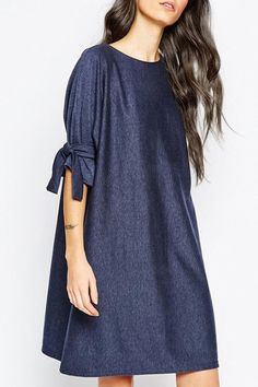 Loose Fitting Round Collar Half Sleeve T-Shirt Dress