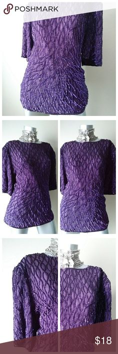 """""""SCALA"""" Sequined Evening Top Gorgeous 100% Silk Sequined Evening Vintage Top with Purple Beads Lining the Bottom Trim Front/Back, Purple Beads Lining the Neckline Front/Back, Inner Lining, & Peephole in Top Back with Hook Closure (Style COWGIRL GLAM with Cowboy Boots & Distressed Acid Wash Shorts) Scala Tops Blouses"""