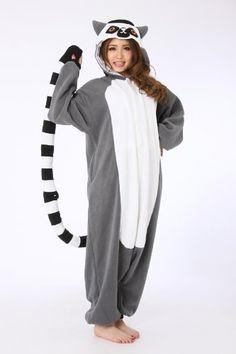 Lemur Catta Adult Unisex Animal Kigurumi Cosplay Costume Pajamas Onesies (S)