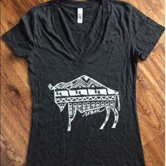 Charcoal Native Buffalo V Neck Women's fit (runs small) Tops Tees - Short Sleeve