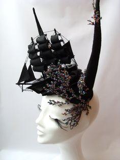 Ship Hornes Headdress Black Coral Reef Beads large Galleon Fascinator