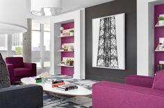 Ideen Für Wohnzimmergestaltung In Der Trendfarbe Orchideen Lila Gesättigte  Farbnuancen
