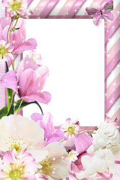 Transparent PNG Pink Frame with Flowers.